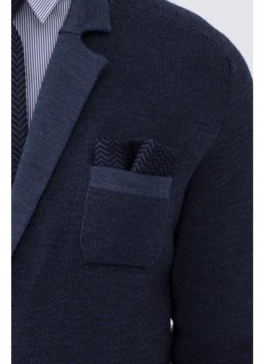Hemington Hemington Erkek Çizgi Desenli Örgü Ceket Mendili Lacivert